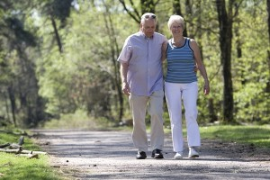 Lovely senior couple strolling through the park arm in arm