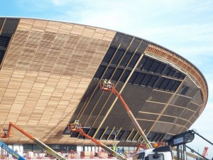 Sustainable timber being installed on the velodrome